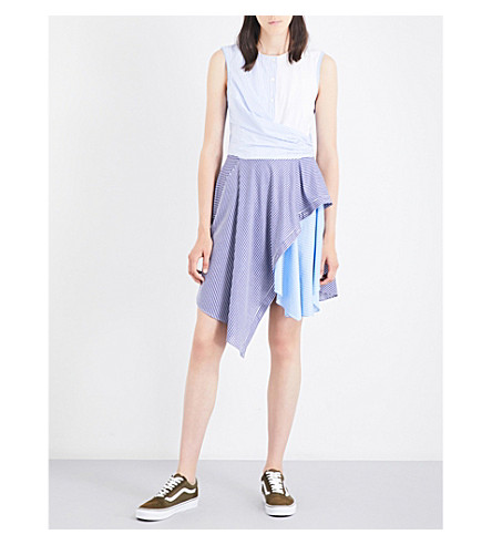 OPENING CEREMONY Cody striped cotton-blend mini dress (Pale+blue+multi