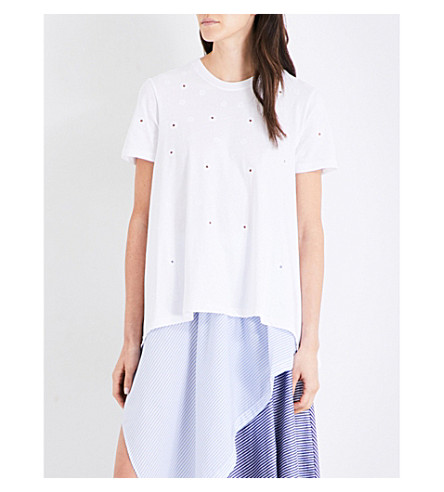 OPENING CEREMONY Ellie eyelet cotton T-shirt (White