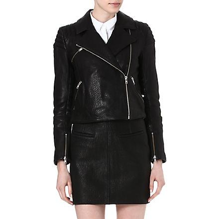 TIGER OF SWEDEN Leather biker jacket (Black