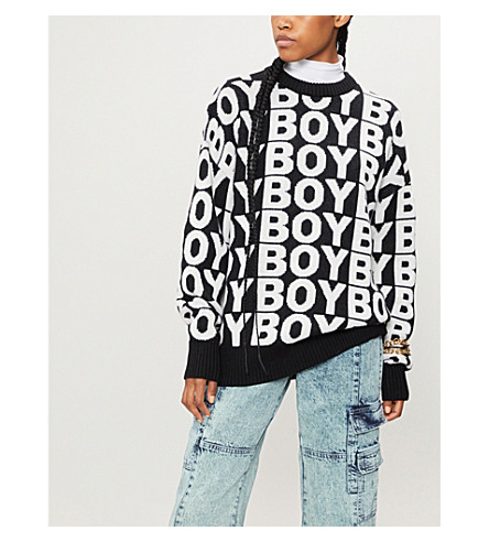 BOY LONDON Aver logo-pattern wool-blend jumper (Black