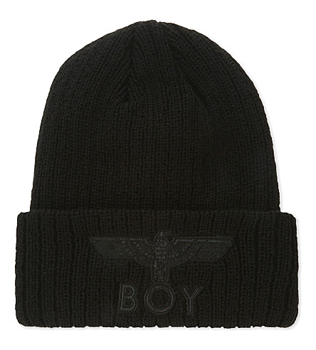 BOY LONDON Eagle appliqué knitted beanie (Black