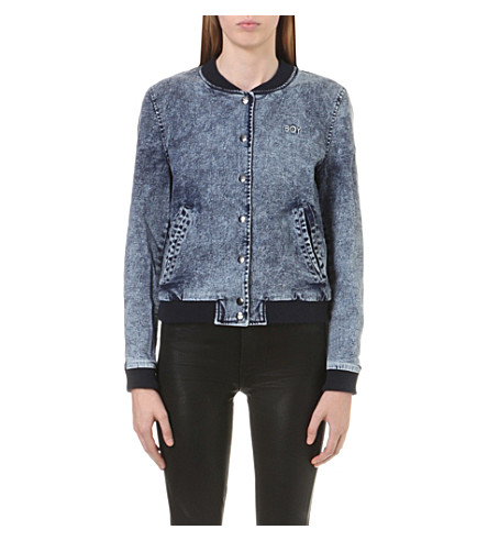 BOY LONDON Stretch-denim bomber jacket (Acid+blue
