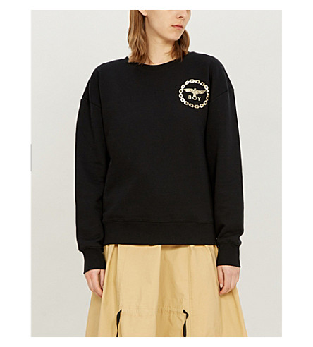 BOY LONDON 金属鹰标志平纹针织棉卫衣 (黑色/金色