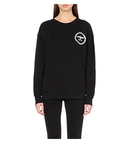 BOY LONDON Metallic eagle logo cotton-jersey sweatshirt (Black/silver