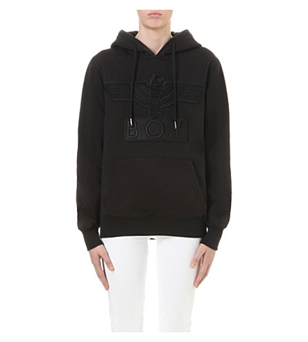 BOY LONDON Eagle-applique cotton-jersey hoody (Black