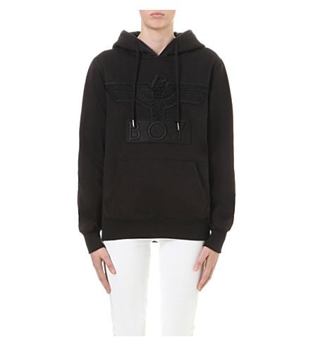 BOY LONDON 鹰-贴花棉质平纹针织帽衫 (黑色