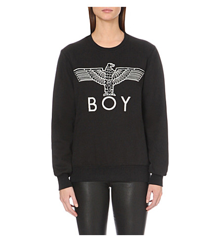 BOY LONDON Eagle-appliqué cotton-jersey sweatshirt (Black