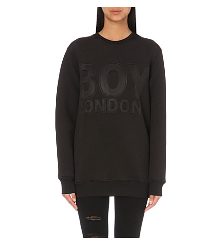 BOY LONDON Logo-embossed neoprene sweatshirt (Black