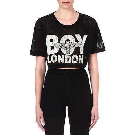 BOY LONDON Cropped mesh top (Black