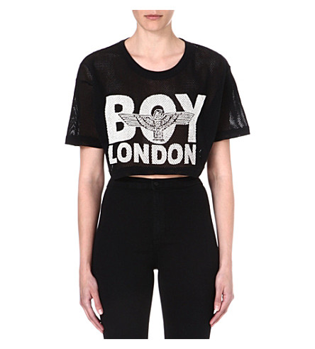 BOY LONDON Cropped mesh top (Black