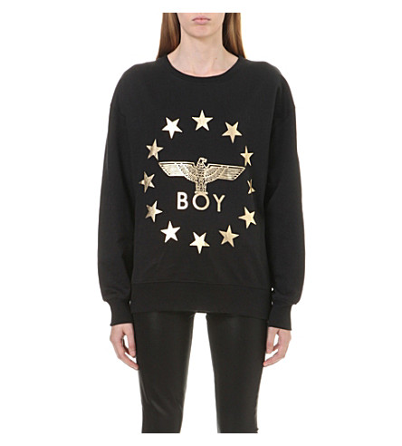 BOY LONDON Metallic Globe Star Eagle sweatshirt (Black+gold