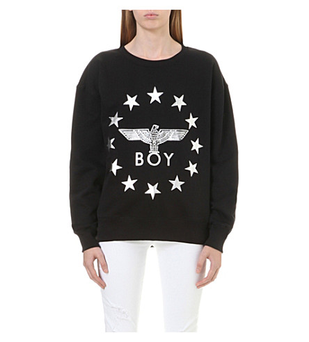 BOY LONDON Metallic Globe Star Eagle sweatshirt (Black+silver