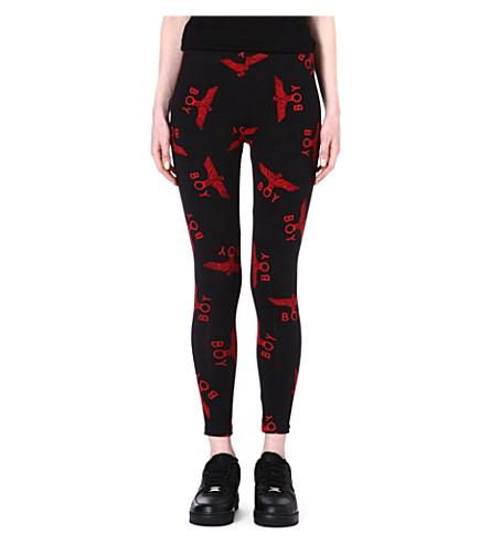 BOY LONDON Eagle repeat-print leggings (Red/black