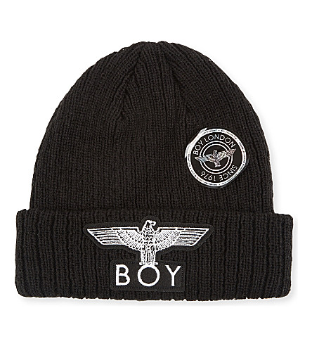 BOY LONDON BOY Eagle appliqué knitted beanie (Black