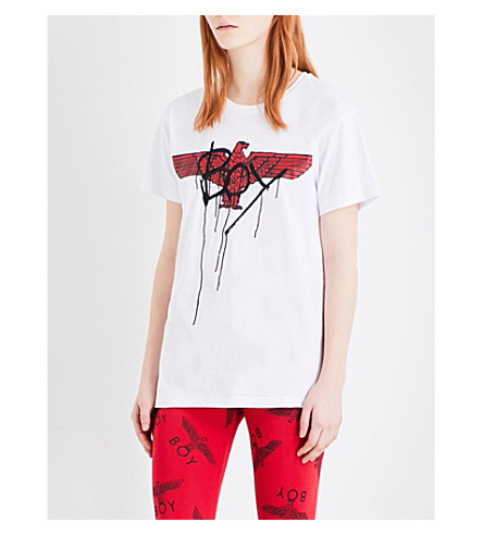 BOY LONDON Eagle-print cotton-jersey T-shirt (White+red