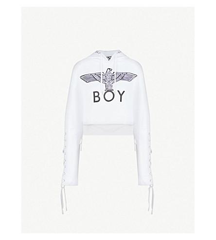 BOY LONDON Lace-up cotton-jersey hoody (White+black