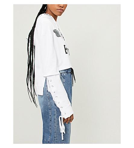 BOY LONDON Lace-up sides cotton-jersey hoody (White+black