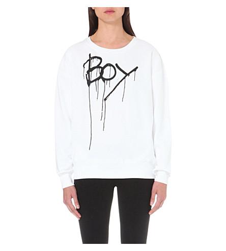 BOY LONDON 滴效果徽标打印棉质运动衫 (白色/黑色