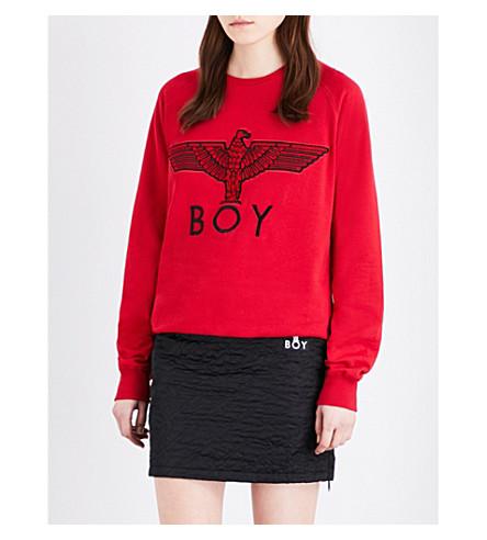 BOY LONDON Eagle-print cotton-jersey sweatshirt (Red