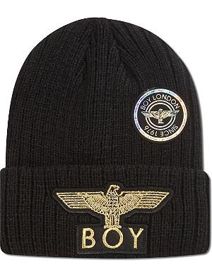 BOY LONDON Boy eagle applique beanie hat