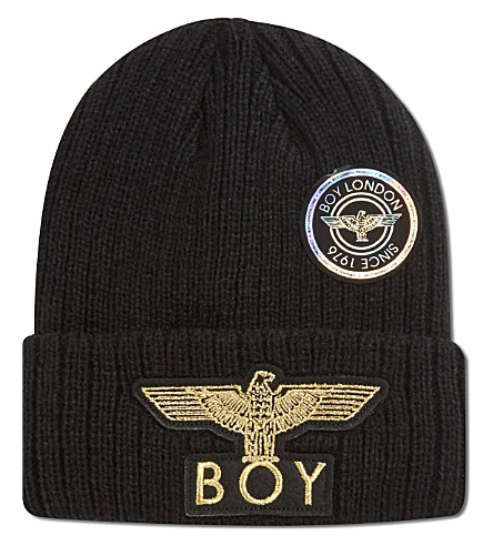 BOY LONDON Boy eagle applique beanie hat (Black/gold
