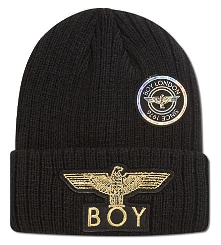 BOY LONDON Boy eagle applique beanie hat (Black/gold