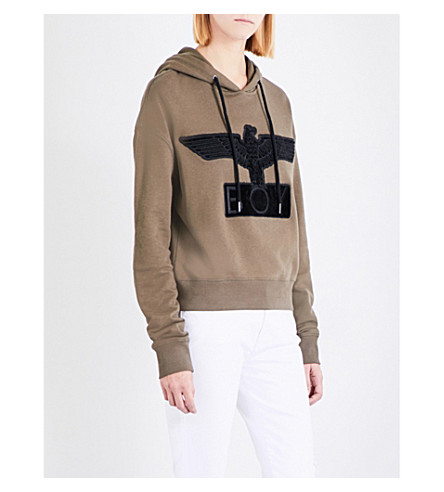 BOY LONDON Bristle logo cotton-jersey hoody (Khaki+black