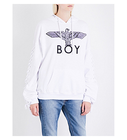 BOY LONDON Lace-up cotton-jersey hoody (Black+white