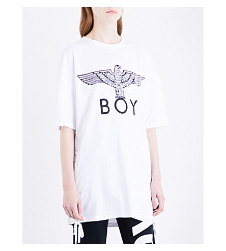BOY LONDON Lace-up sides cotton-jersey T-shirt (White+black