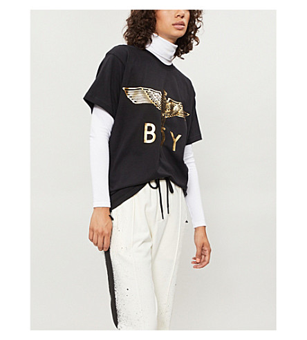 BOY LONDON Metallic eagle logo T-shirt (Gold/black