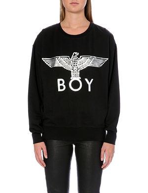 BOY LONDON Metallic Eagle logo cotton-jersey sweatshirt