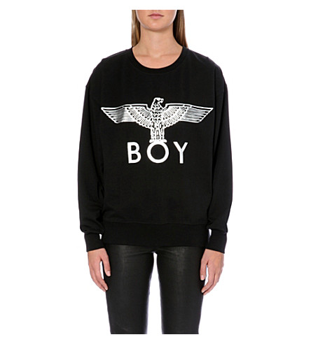 BOY LONDON Metallic Eagle logo cotton-jersey sweatshirt (Black