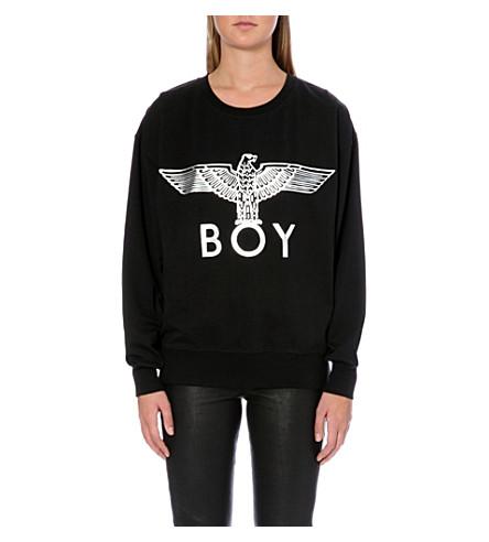 BOY LONDON Metallic Eagle logo cotton-jersey sweatshirt (Black