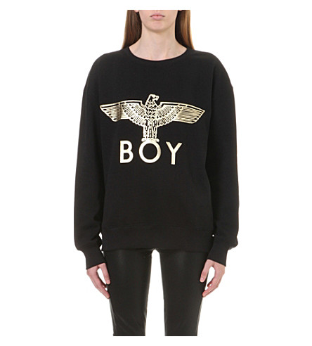 BOY LONDON Metallic Eagle logo cotton-jersey sweater (Black/gold