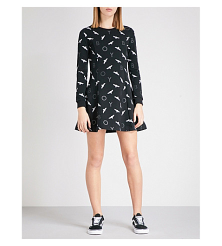 BOY LONDON Eagle stretch-jersey mini dress (Black+black