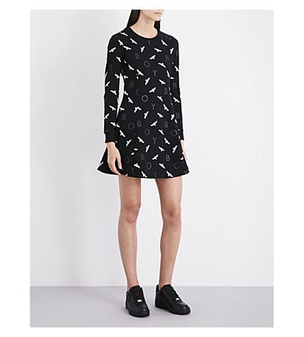BOY LONDON Eagle stretch-jersey mini dress (Black+white