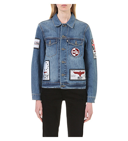 BOY LONDON Patch-appliqué denim jacket (Blue