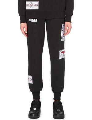 BOY LONDON Patch-appliqué cotton-jersey jogging bottoms