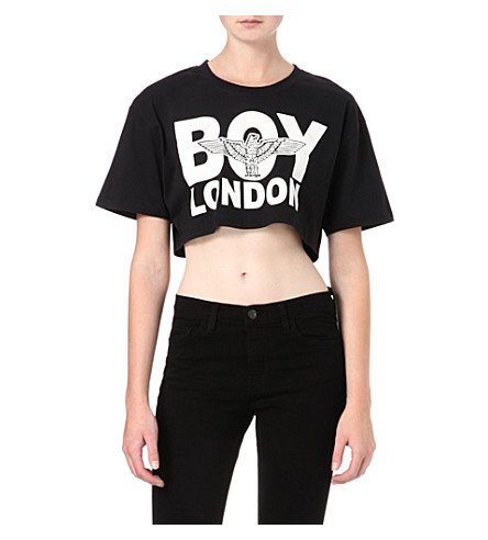 BOY LONDON Cropped logo t-shirt (Black/white