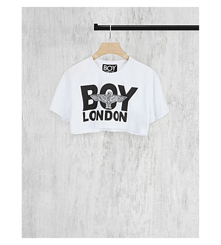 BOY LONDON Cropped logo cotton-jersey t-shirt (White/black