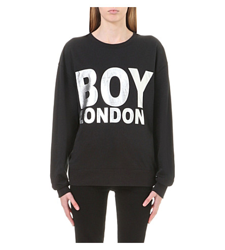 BOY LONDON Logo-print cotton-jersey sweatshirt (Black/silver