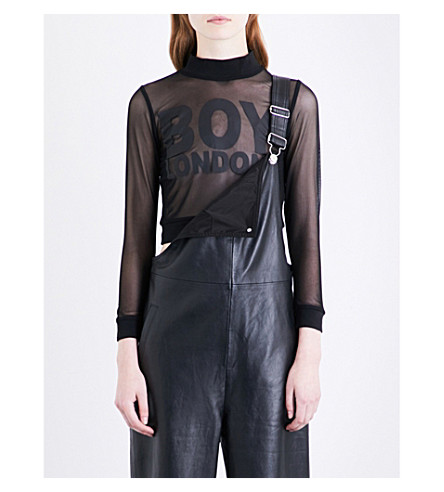 BOY LONDON Logo-print mesh top (Black