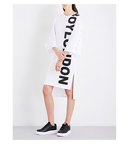 BOY LONDON Logo-print cotton-jersey dress (White+black