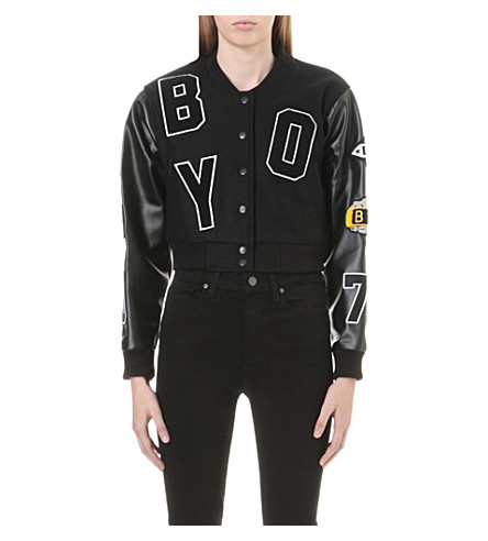 BOY LONDON Cropped varsity jacket (Black
