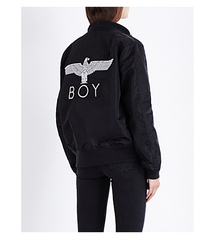 BOY LONDON Eagle-Motif Shell Bomber Jacket in Black
