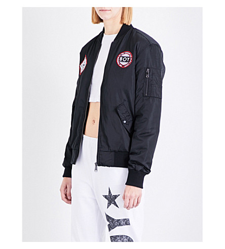 BOY LONDON Patch shell bomber jacket (Black