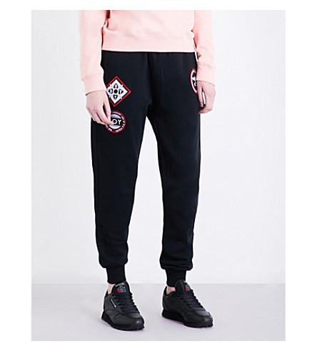 BOY LONDON Patch-detail cotton-jersey jogging bottoms (Black