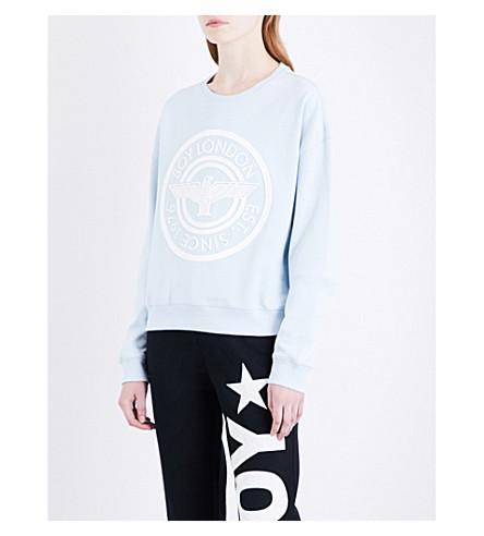 BOY LONDON Plastisol cotton-jersey sweatshirt (Sky blue white