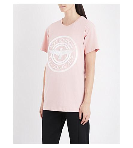 BOY LONDON Plastisol cotton-jersey T-shirt (Pink+white