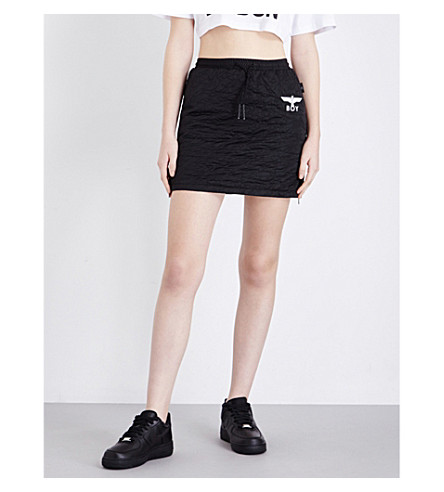 BOY LONDON Drawstring quilted mini skirt (Black